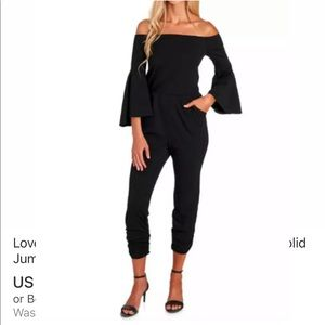 Love...Ady Off-the-Shoulder Solid Jumpsuit